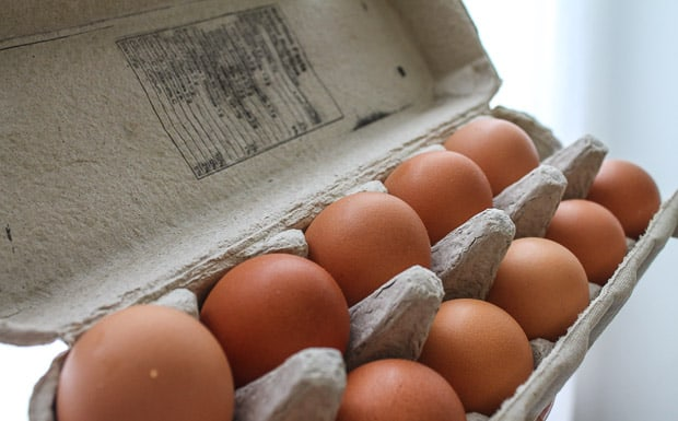a carton of fresh eggs
