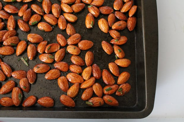 Roasted almonds on a baking tray
