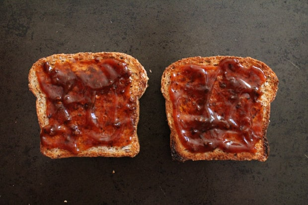 toasted bread smothered in BBQ sauce