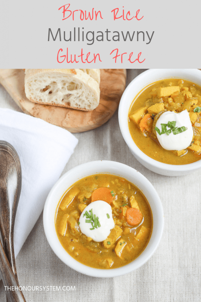 Full of warm spicy flavour, this gluten free Brown Rice Mulligatawny soup recipe is one of my all time favourites. Packed with veggies and topped with something creamy to offset the heat. #souprecipes #healthyrecipes #cleaneating #glutenfree