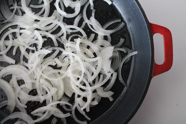 onions in a pan ready to be cooked