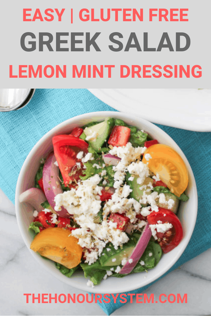 Easy Greek Salad Minted Lemon Dressing Gluten Free Recipe