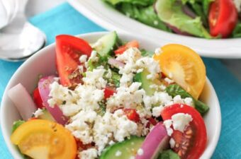 tomato cucumber salad with feta cheese