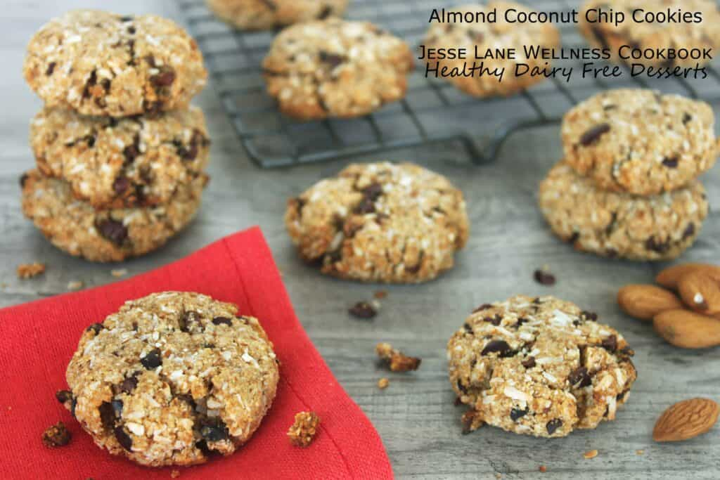 Almond Coconut Choco Chip Cookies from @jesselwellness Healthy Dairy Free Desserts