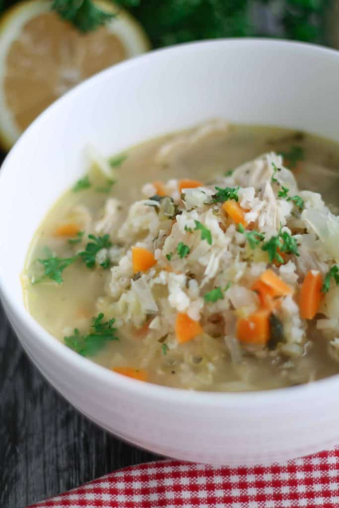 Lemon Chicken Vegetable Soup with Brown Rice-6