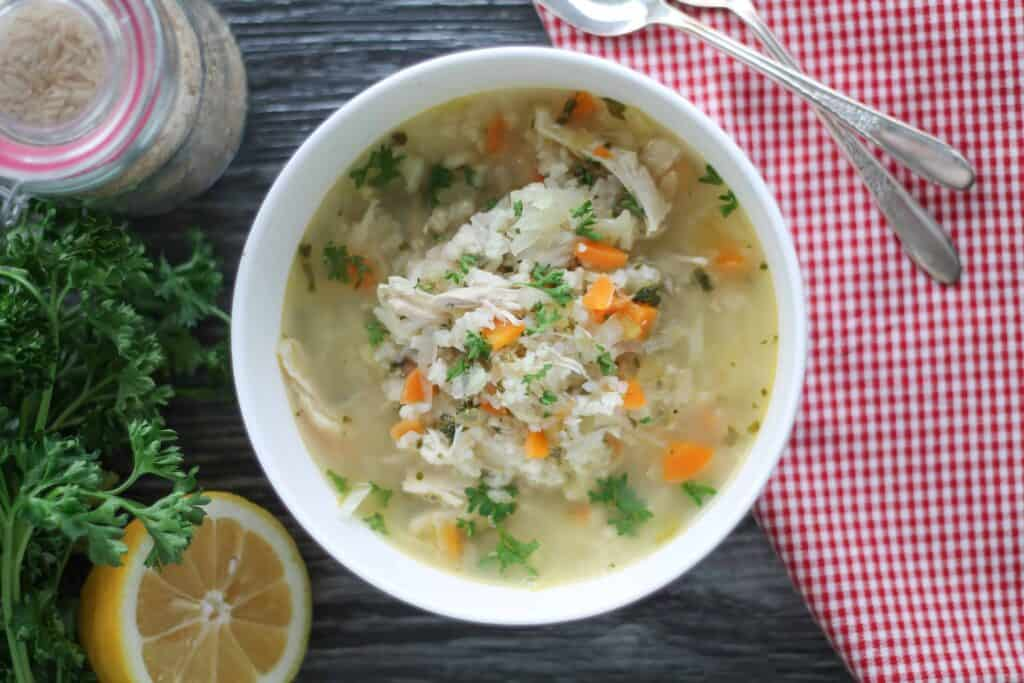 Lemon Chicken Vegetable Soup with Brown Rice-8