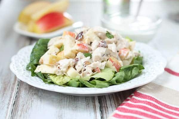 Greek Yogurt Chicken salad on a plate