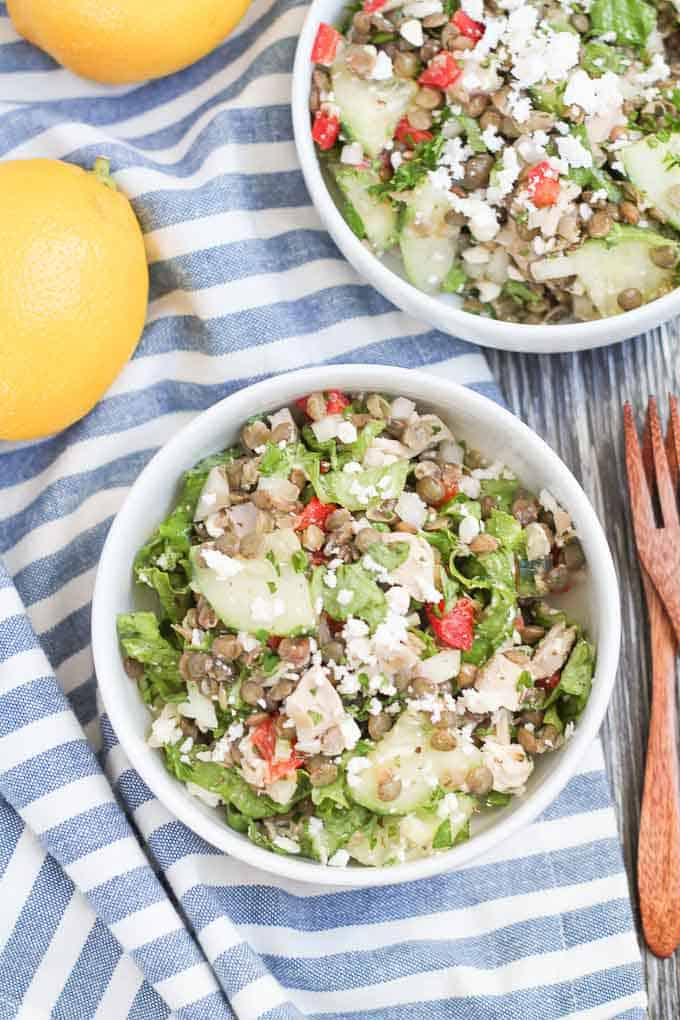 Two bowls of dinner salads