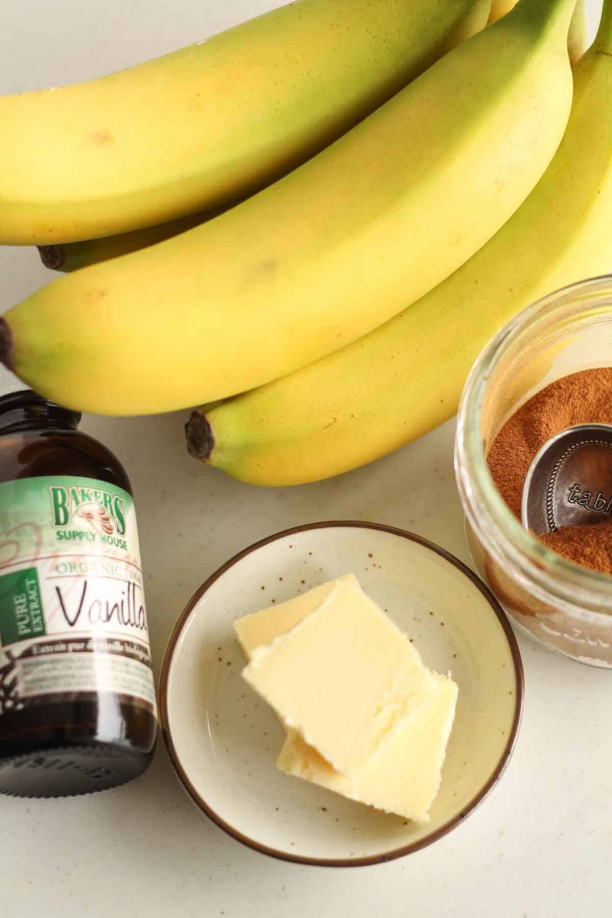 ingredients to make healthy pan fried bananas