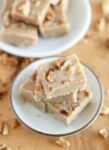maple walnut tahini fudge cut into squares