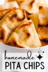 pinterest graphic for homemade pita chips