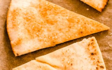 a tray of oven baked pita chips.